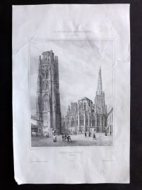 Chapuy 1840 Folio Antique Print. Cathedrale et tour St. Andre, France